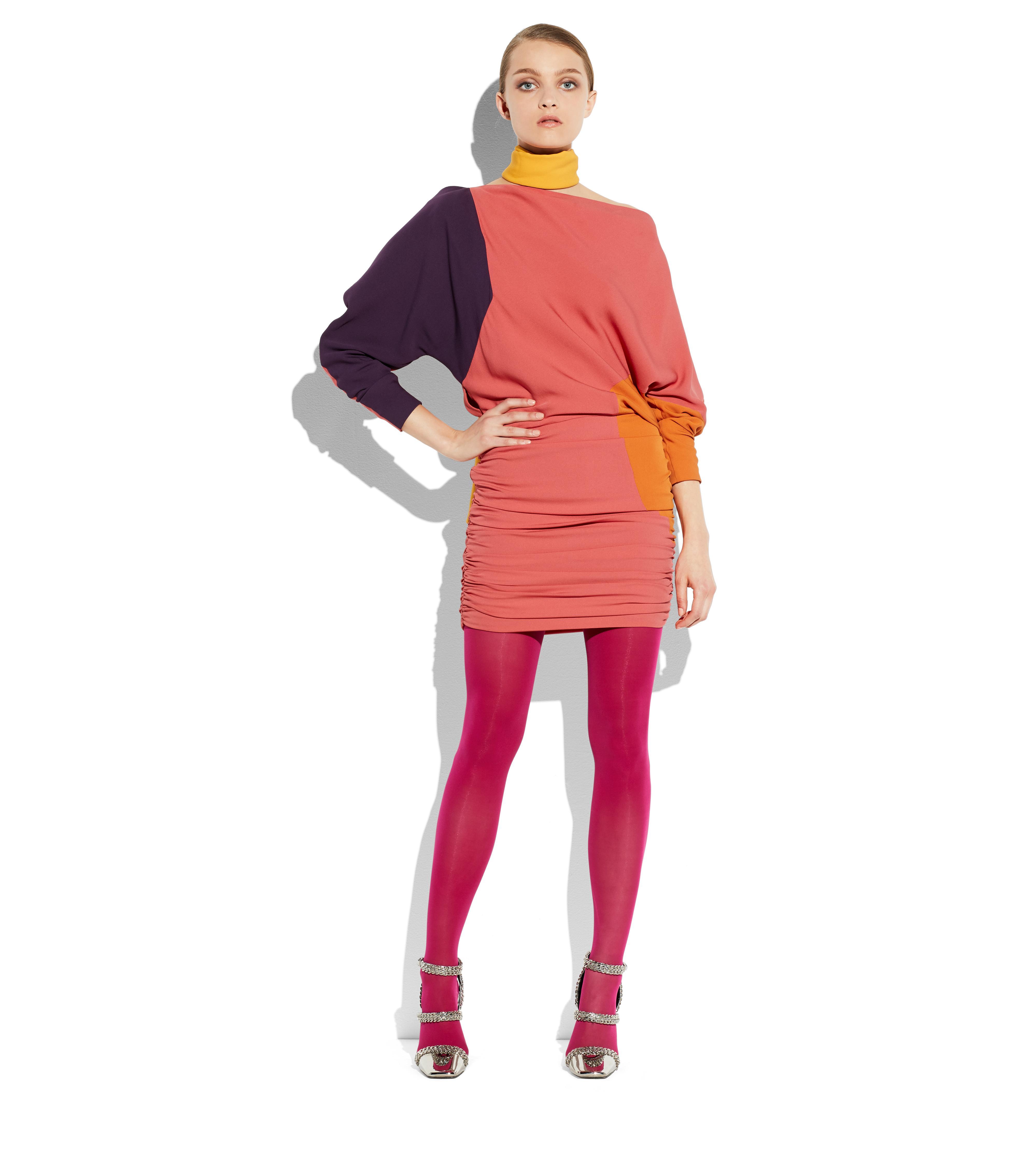 OFF-SHOULDER COLOR BLOCK DOUBLE GEORGETTE DRESS B thumbnail