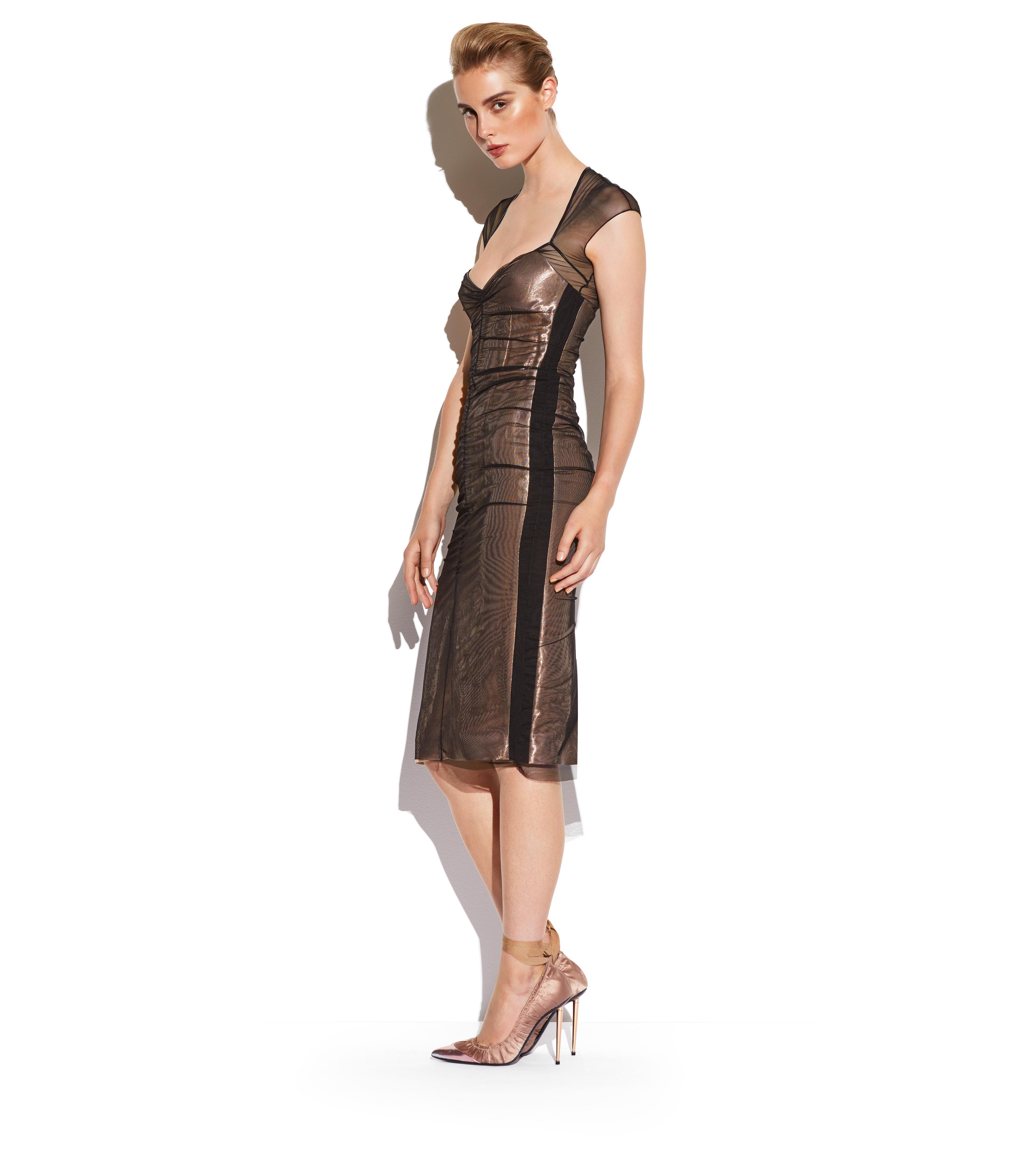 TULLE OVERLAY LAME DRESS B thumbnail