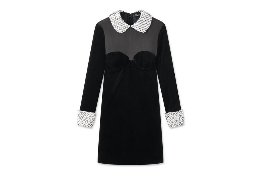 VELVET MINI DRESS WITH CRYSTAL EMBROIDERY A fullsize
