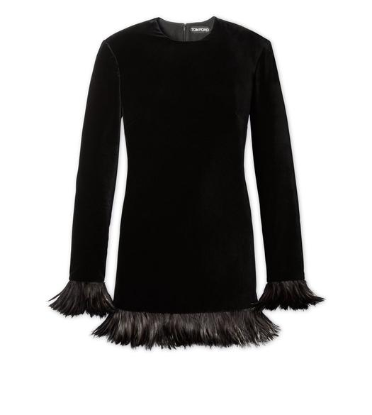 FEATHERED VELVET DRESS