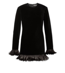 1335208536 FEATHERED VELVET DRESS