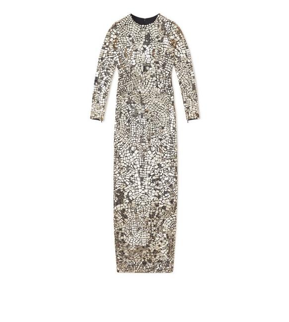 MIRROR EMBROIDERED COLUMN GOWN A fullsize