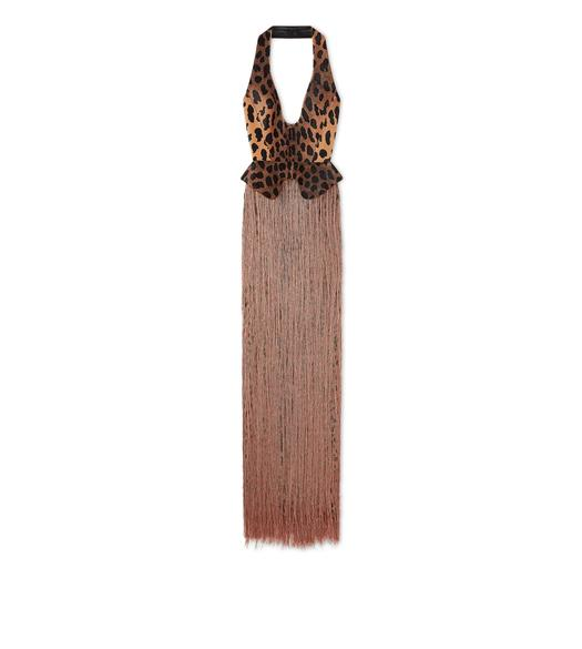 EMBROIDERED LEOPARD SILK FRINGE GOWN