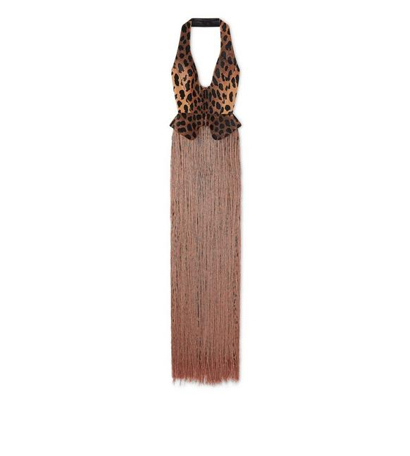EMBROIDERED LEOPARD SILK FRINGE GOWN A fullsize