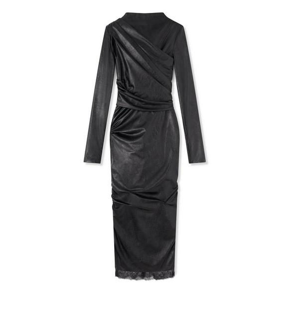 FAUX LEATHER RUCHED DRESS A fullsize