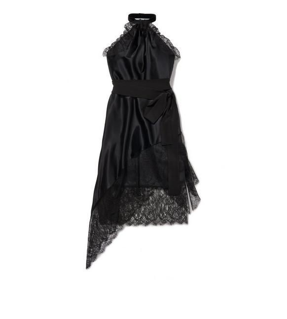 STRETCH CHARMEUSE HALTERNECK DRESS A fullsize