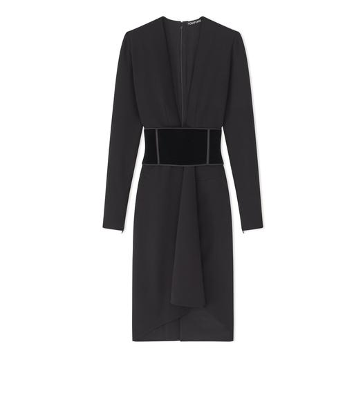 STRETCH WOOL DRESS WITH VELVET BELT