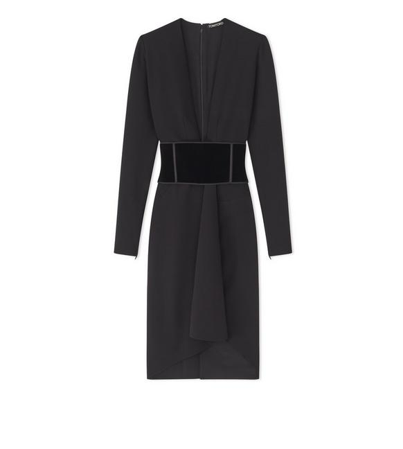 STRETCH WOOL DRESS WITH VELVET BELT A fullsize