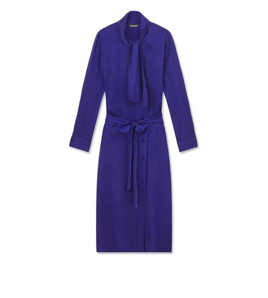 FLUID DOUBLE FACE SATIN BELTED SHIRTDRESS