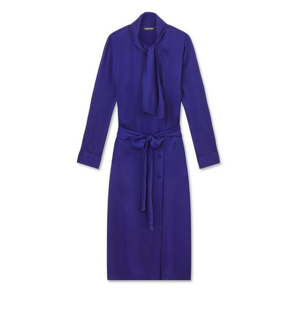 FLUID DOUBLE FACE SATIN BELTED SHIRTDRESS A fullsize