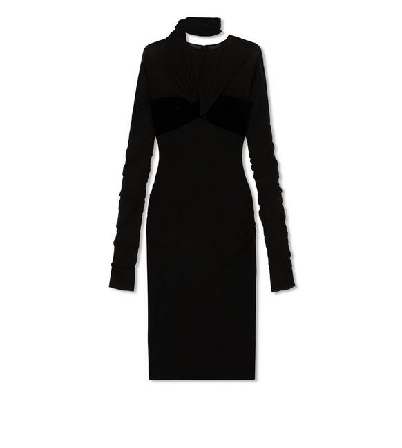 STRETCH GEORGETTE COCKTAIL DRESS A fullsize