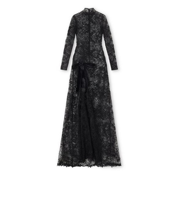 LIGHT FLORAL LAQUERED MACRAME' LONG SLEEVE GOWN A fullsize