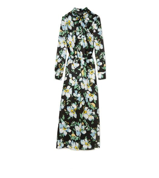 PAINTED FLORAL PRINT MIDI BELTED DRESS