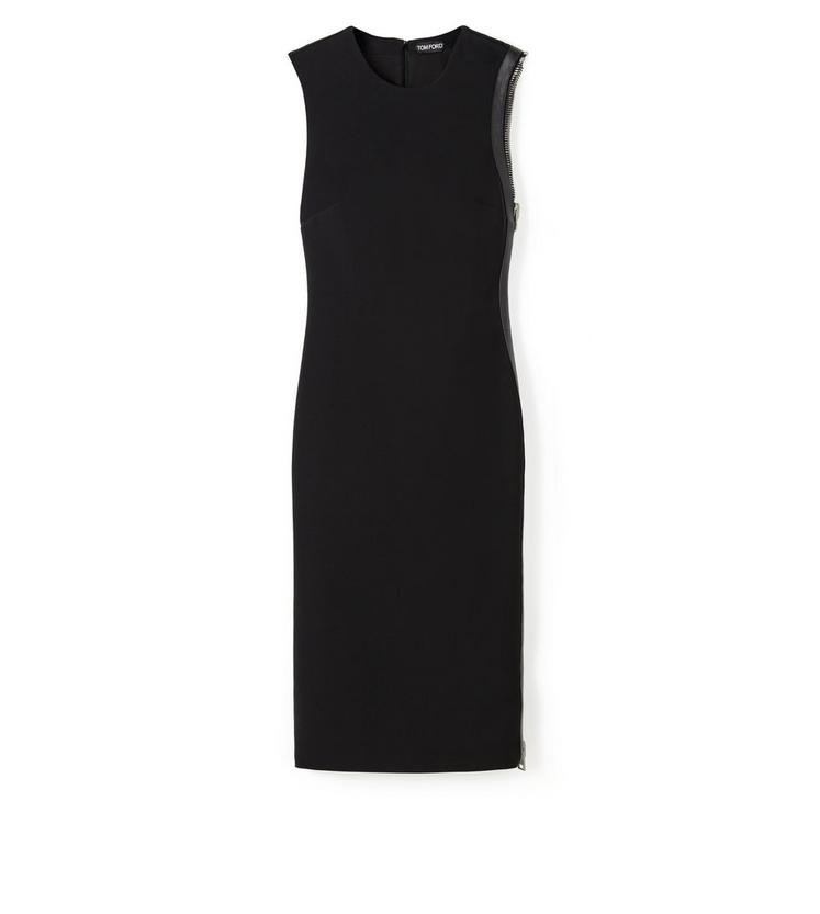 KNEE LENGTH SLEEVELESS DRESS WITH SIDE ZIP AND LEATHER DETAIL A fullsize