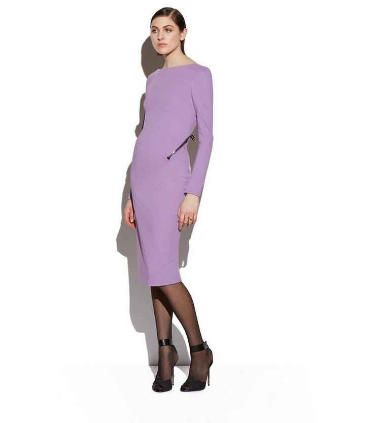 OPEN BACK ZIP COMPACT JERSEY DRESS B fullsize