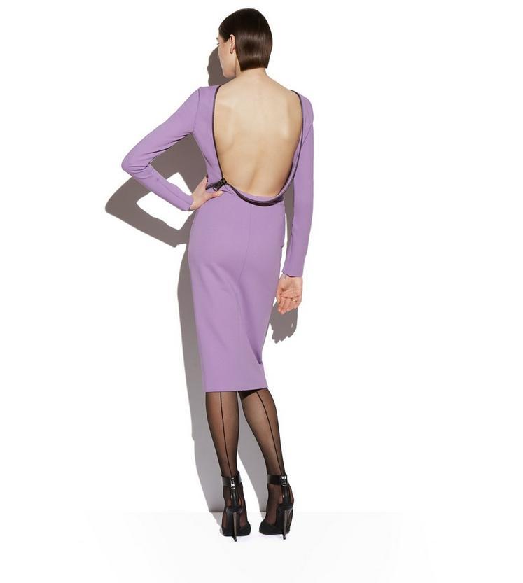 OPEN BACK ZIP COMPACT JERSEY DRESS C fullsize