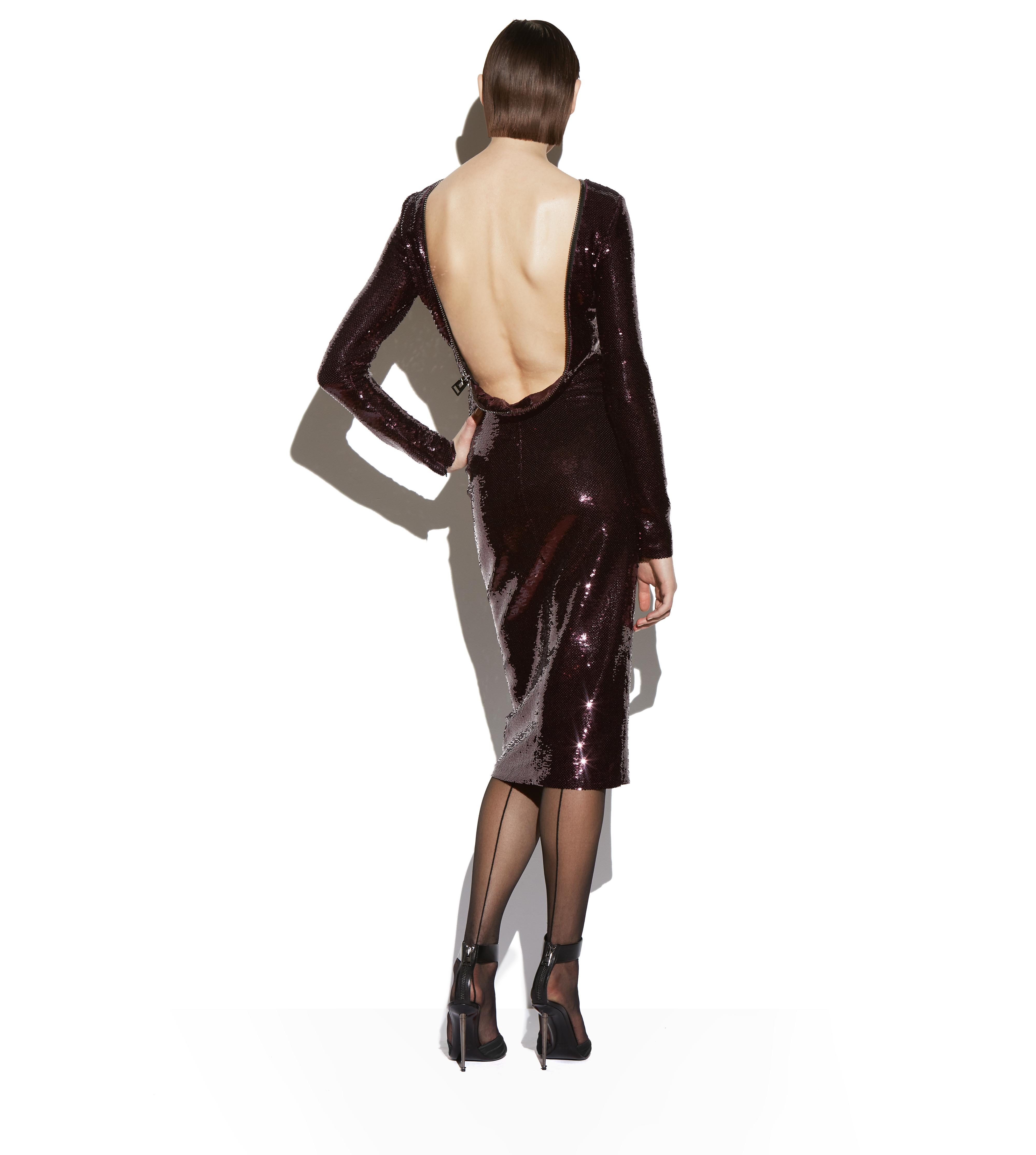 OPEN BACK ZIP LIQUID SEQUIN DRESS C thumbnail