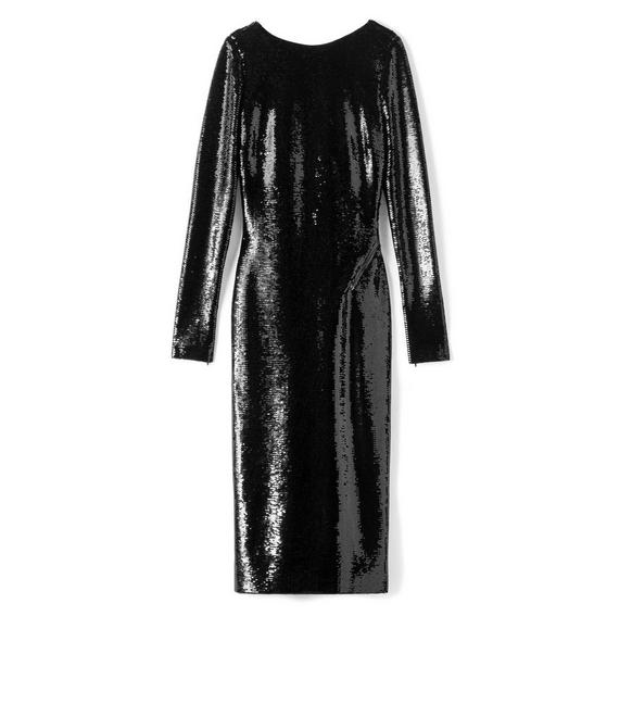 OPEN BACK ZIP LIQUID SEQUIN DRESS A fullsize