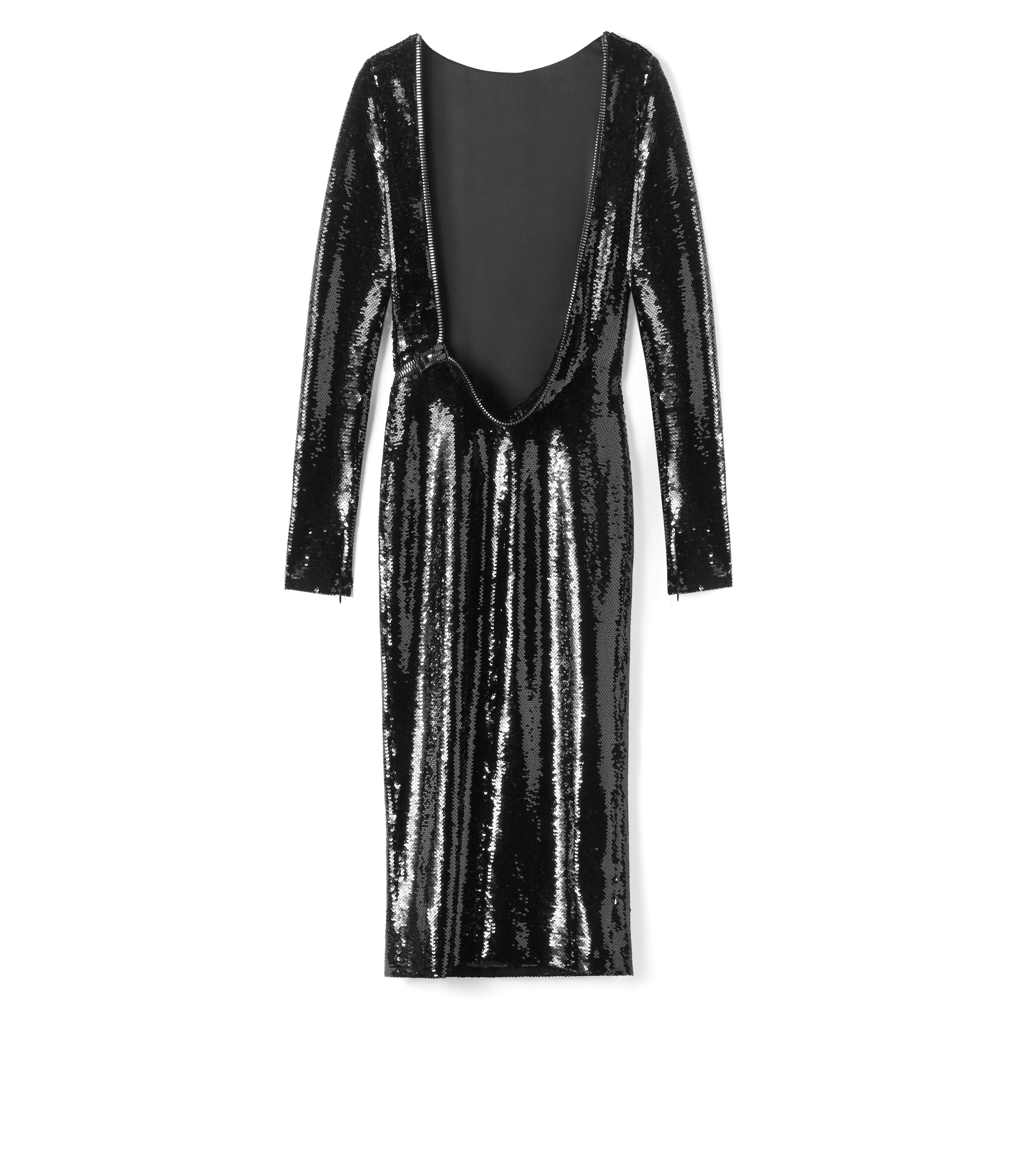 OPEN BACK ZIP LIQUID SEQUIN DRESS B thumbnail
