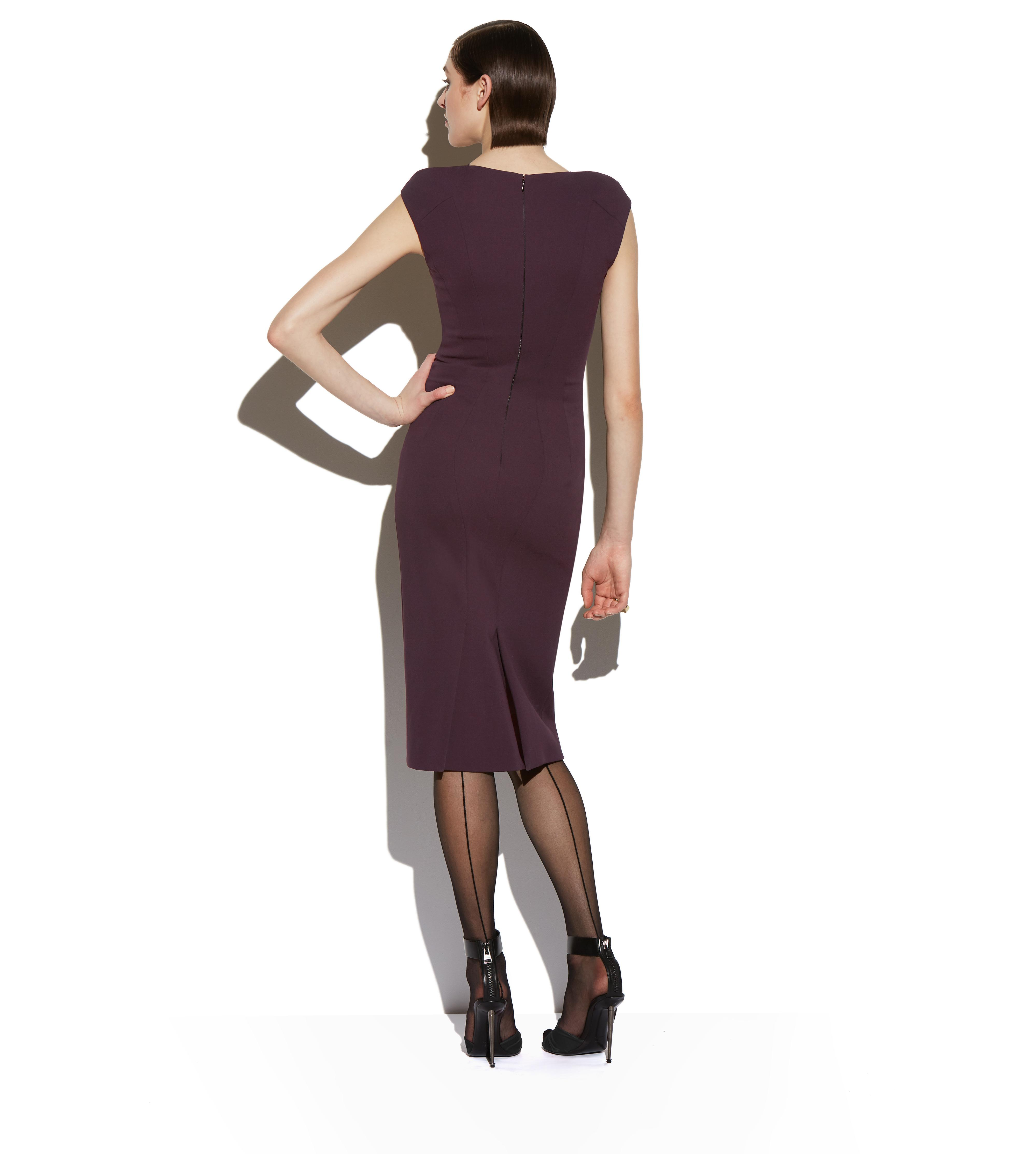 COMPACT JERSEY CAP SLEEVE STRUCTURED SEAM DRESS C thumbnail