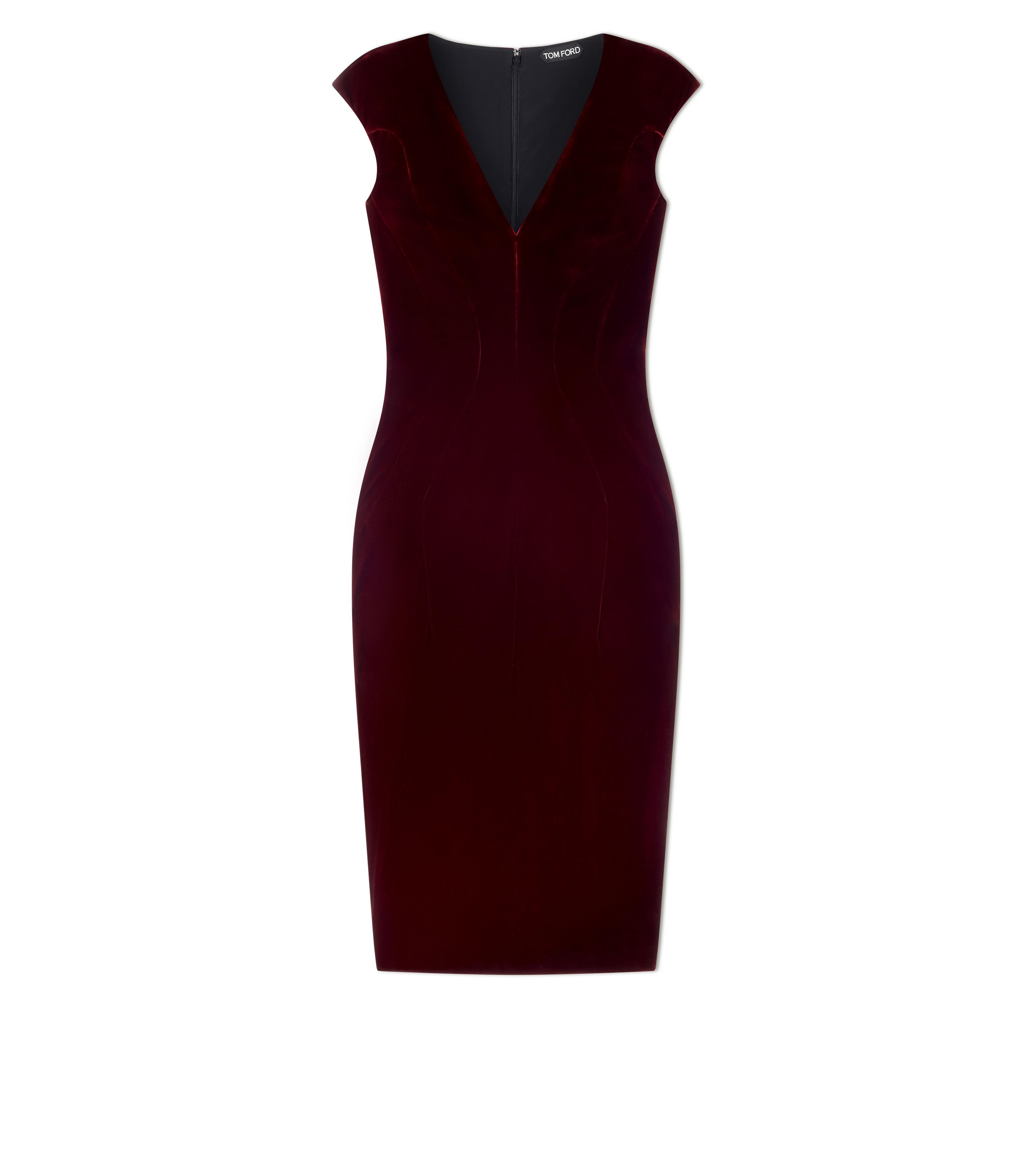 VELVET CAP SLEEVE STRUCTURED SEAM DRESS A thumbnail