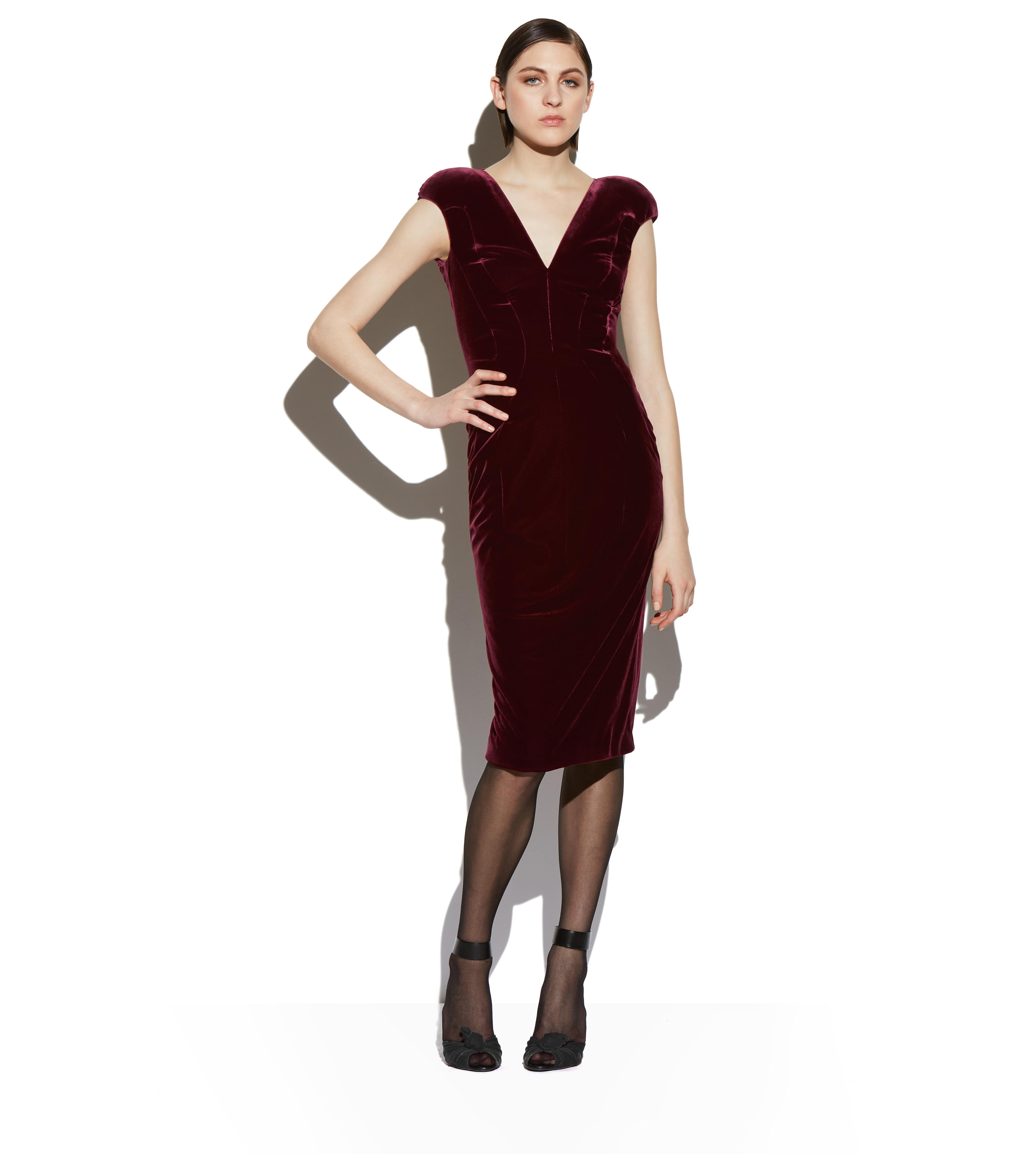 VELVET CAP SLEEVE STRUCTURED SEAM DRESS B thumbnail