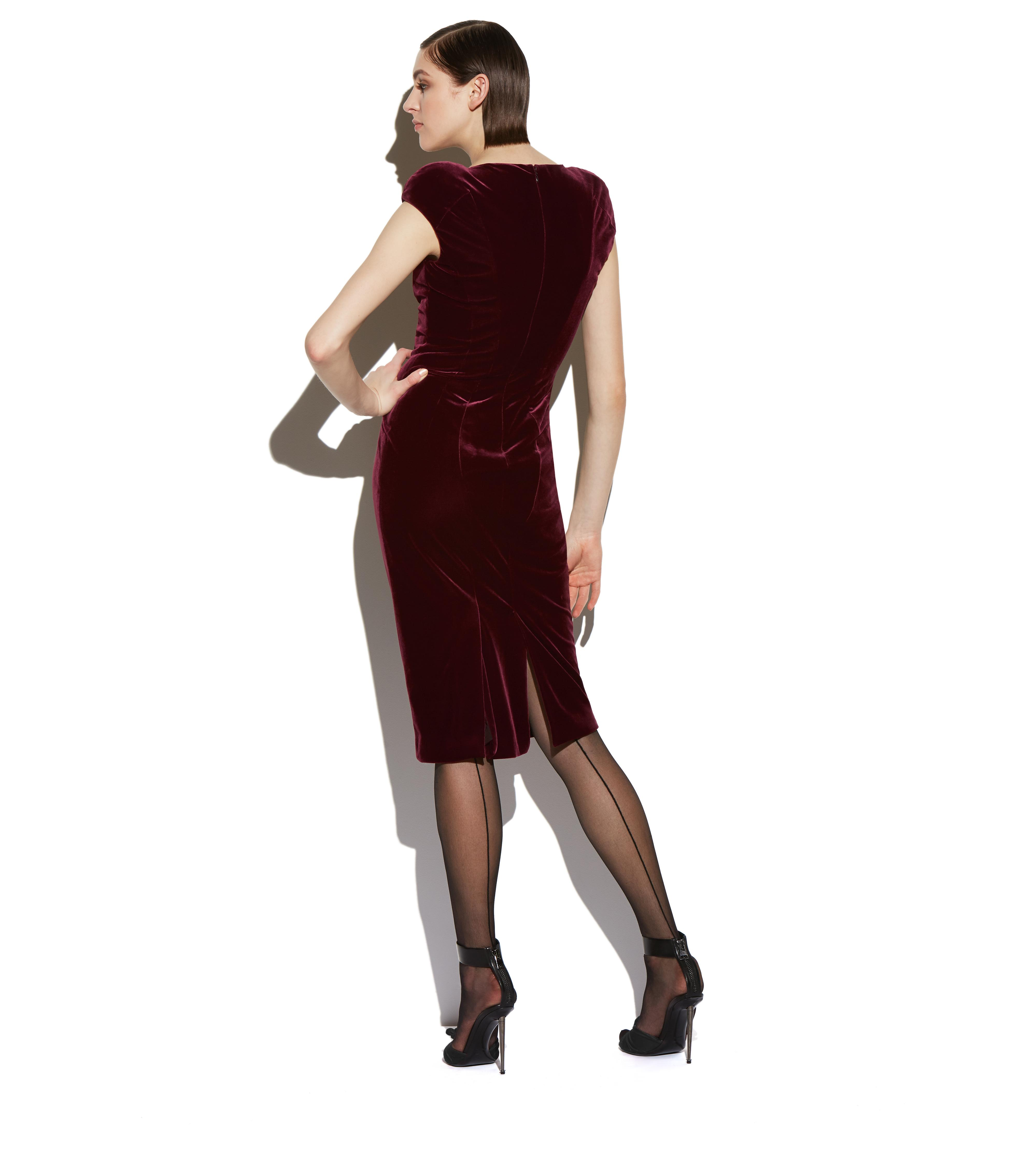 VELVET CAP SLEEVE STRUCTURED SEAM DRESS C thumbnail