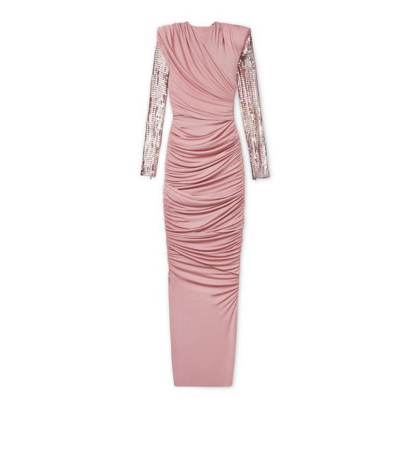 DRAPED GOWN WITH EMBROIDERED SLEEVES A fullsize