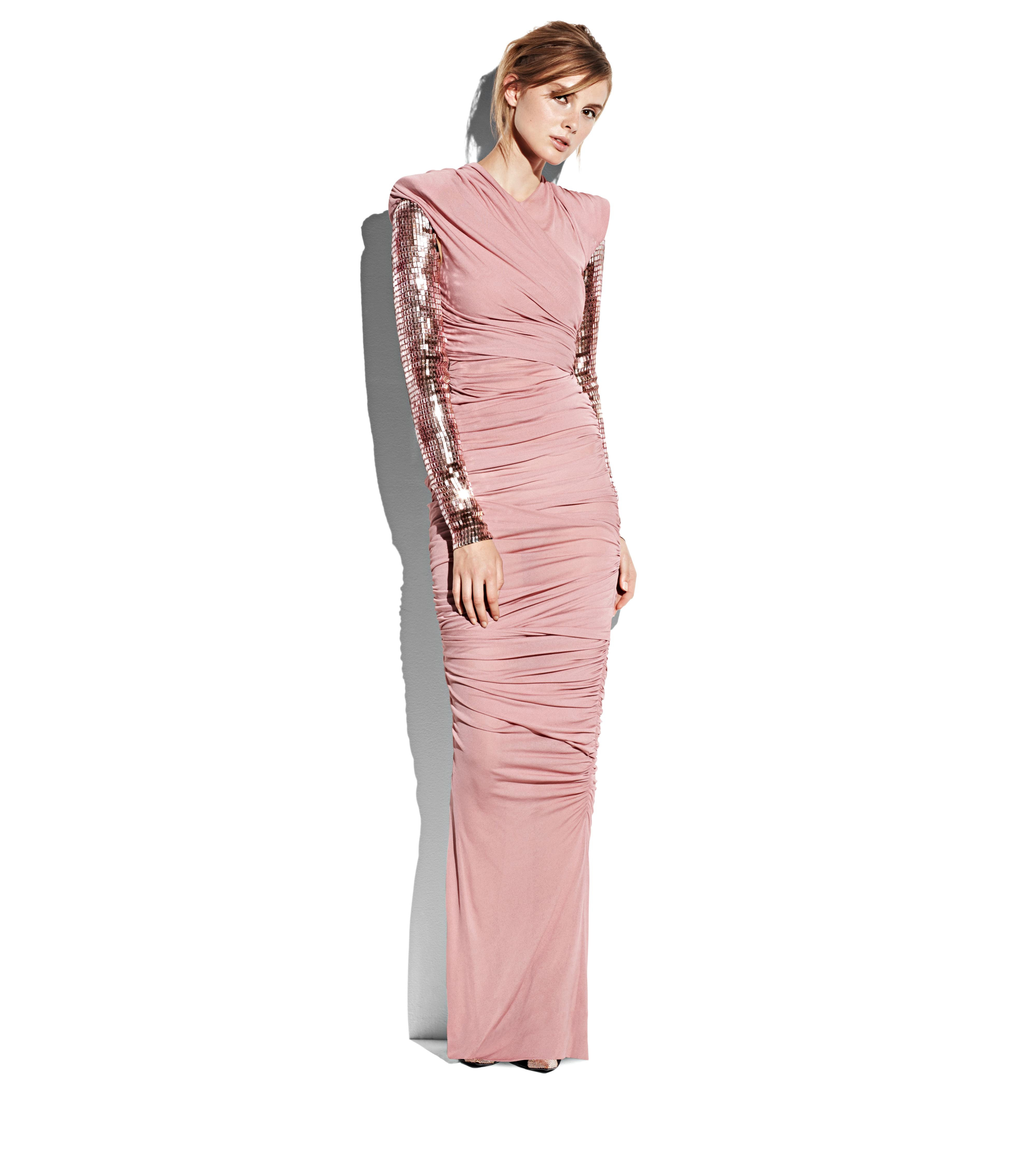 DRAPED GOWN WITH EMBROIDERED SLEEVES B thumbnail