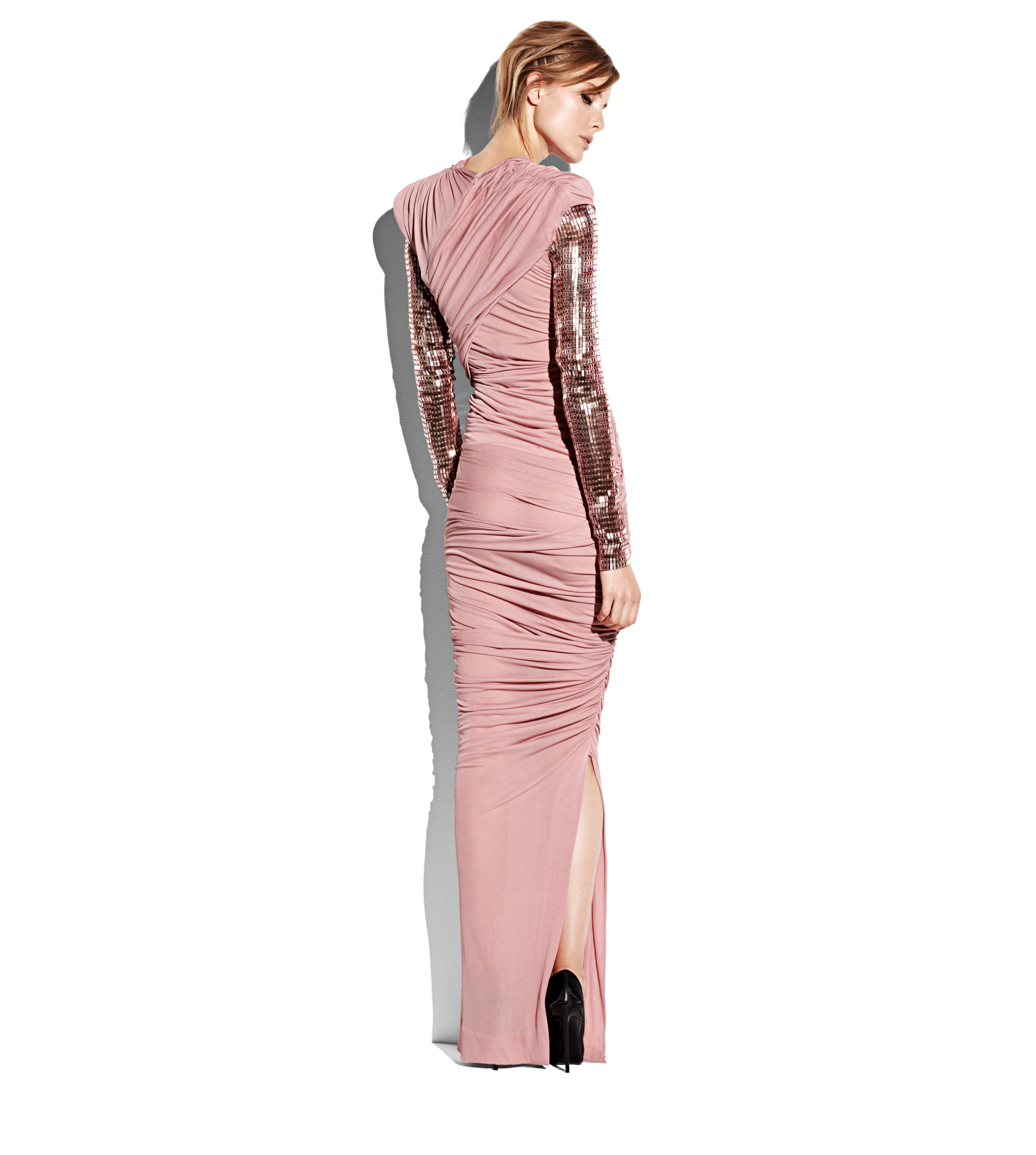 DRAPED GOWN WITH EMBROIDERED SLEEVES C thumbnail