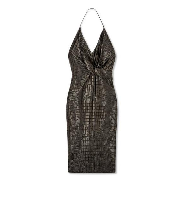 CROCODILE JACQUARD HALTERNECK DRESS A fullsize