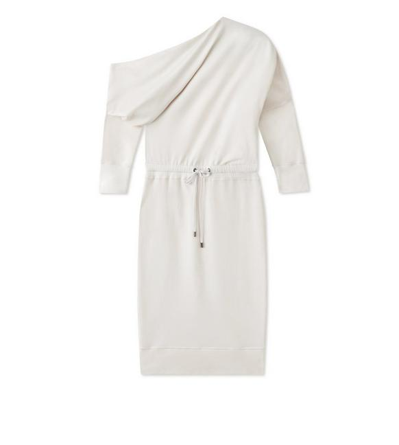 LACQUERED SILK OFF-SHOULDER DRESS A fullsize