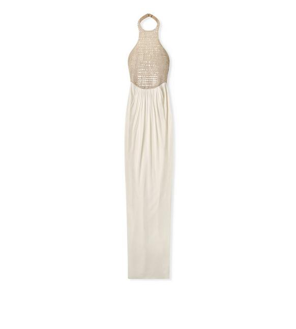 CHALK EMBROIDERED CROCODILE HALTERNECK GOWN A fullsize