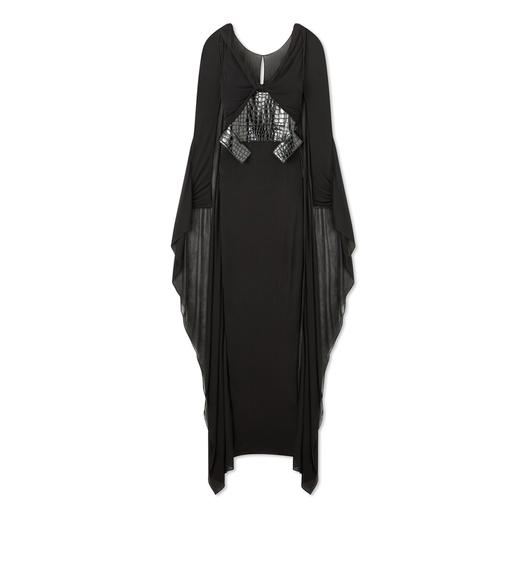 LIGHT JERSEY CAPED GRECIAN GOWN