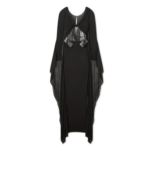 LIGHT JERSEY CAPED GRECIAN GOWN A fullsize