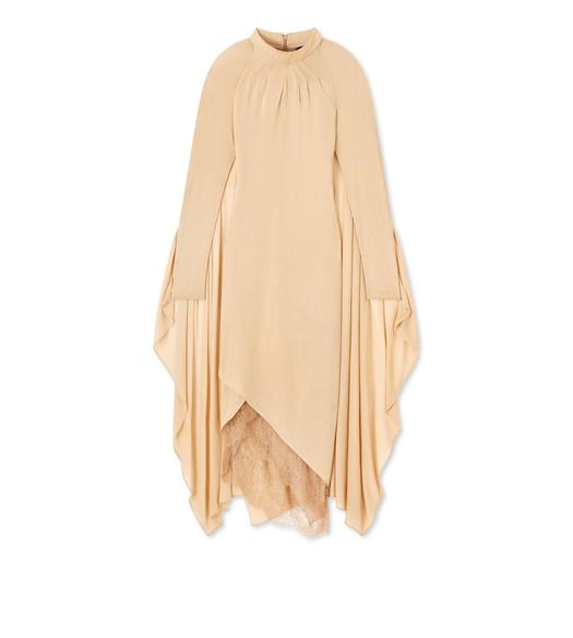 LIGHT JERSEY MOCK NECK CAPE DRESS
