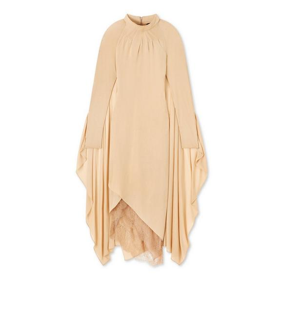 LIGHT JERSEY MOCK NECK CAPE DRESS A fullsize