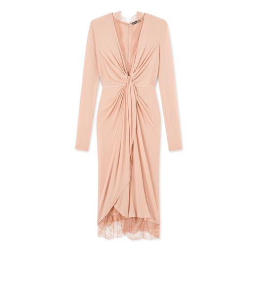 LIGHT JERSEY KNOT FRONT DRAPED DRESS