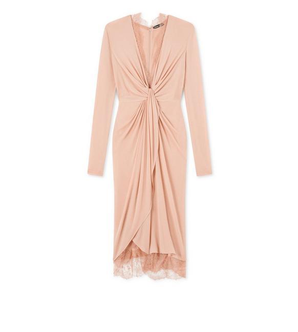 LIGHT JERSEY KNOT FRONT DRAPED DRESS A fullsize