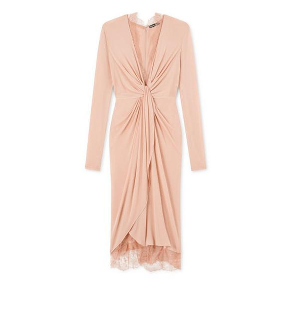 LIGHT JERSEY KNOT FRONT DRAPED DRESS A fullsize
