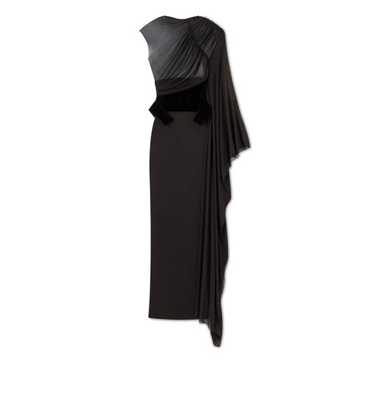 DRAPED GOWN WITH VELVET WAIST CINCHER