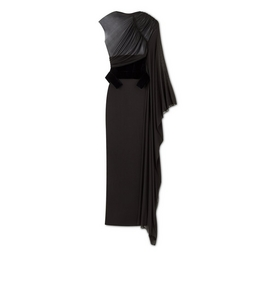 3005269484 DRAPED GOWN WITH VELVET WAIST CINCHER