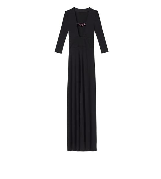 CREPE JERSEY OPEN NECK CHAIN GOWN