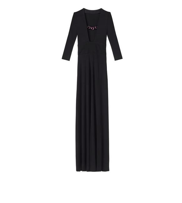 CREPE JERSEY OPEN NECK CHAIN GOWN A fullsize