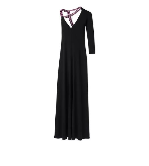 CREPE JERSEY ONE SLEEVE GOWN WITH CHAIN
