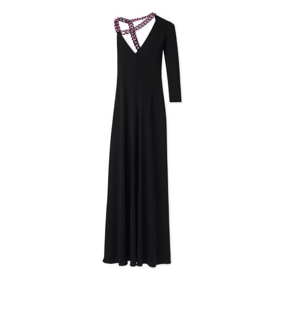 CREPE JERSEY ONE SLEEVE GOWN WITH CHAIN A fullsize