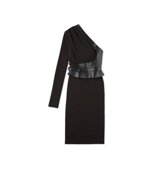 SABLE JERSEY ONE SHOULDER DRESS WITH LEATHER BELT