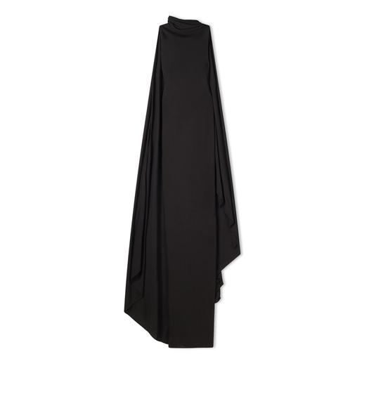 SABLE JERSEY OPEN BACK GOWN WITH ATTACHED SCARF