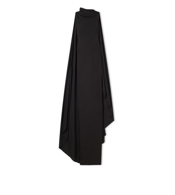 SABLE JERSEY OPEN BACK GOWN WITH ATTACHED SCARF A fullsize