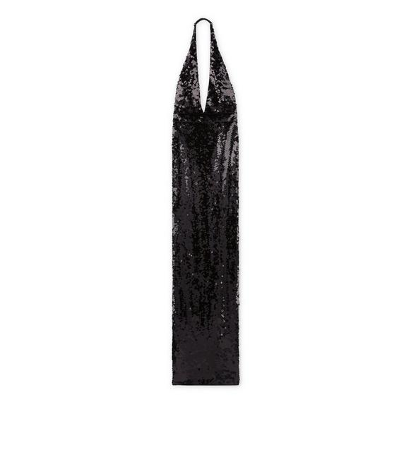 SEQUINED OPEN BACK GOWN A fullsize